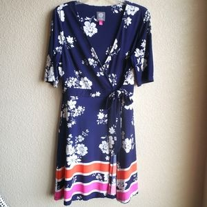 Vince Camuto Faux Wrap Dress Navy Floral Knit 14